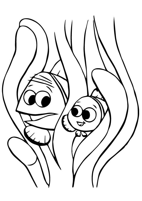 Marlin and Nemo Playing Hide and Seek coloring pages