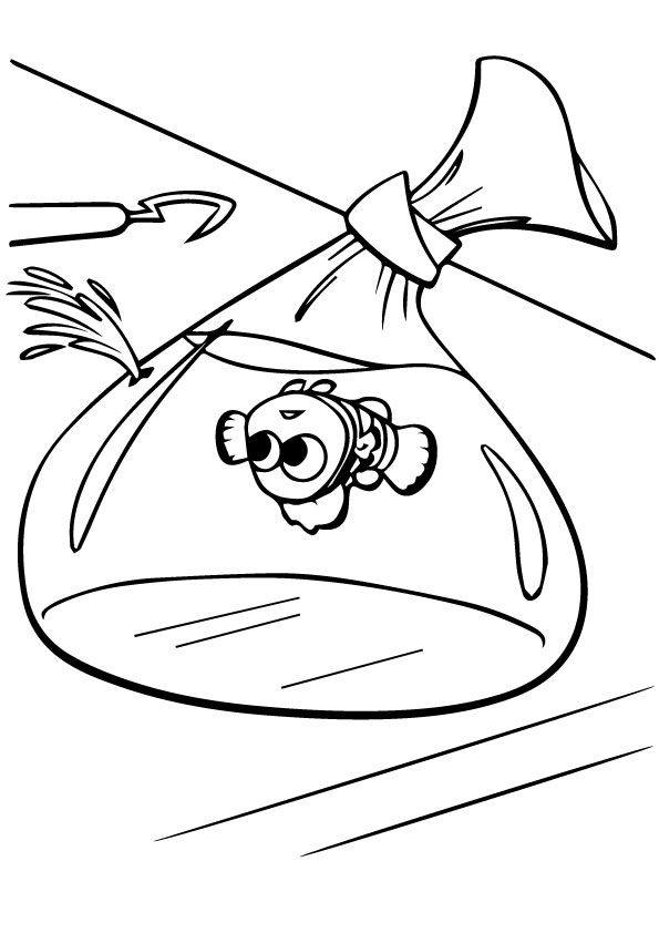 Nemo traped in Plastic Bag coloring pages