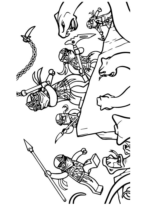 Ninjago Gang in to Action coloring pages
