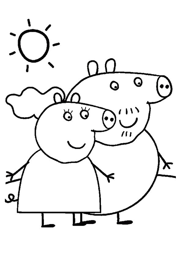 Granny & Grandpa Pig coloring pages
