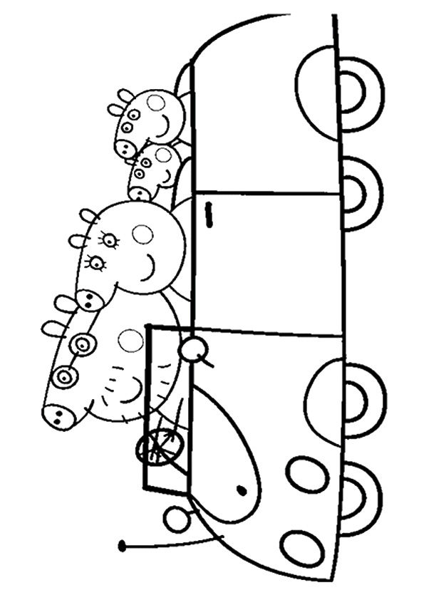 Pig Family On outing coloring pages