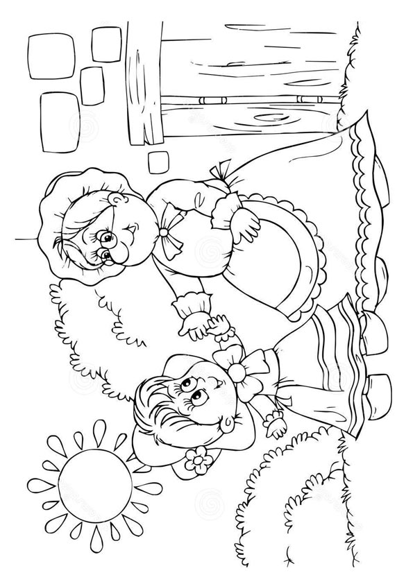 The Little Red Riding Hood With Grandma coloring pages