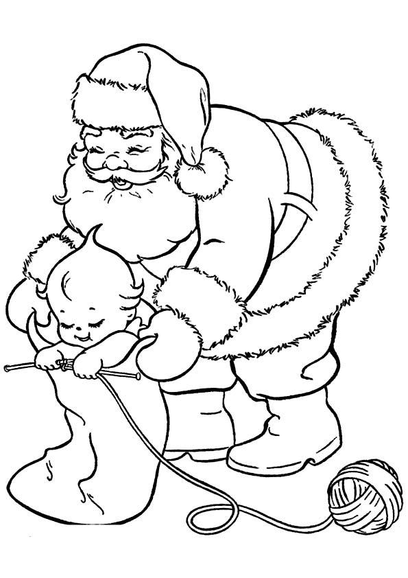 New Year Knitting Santa