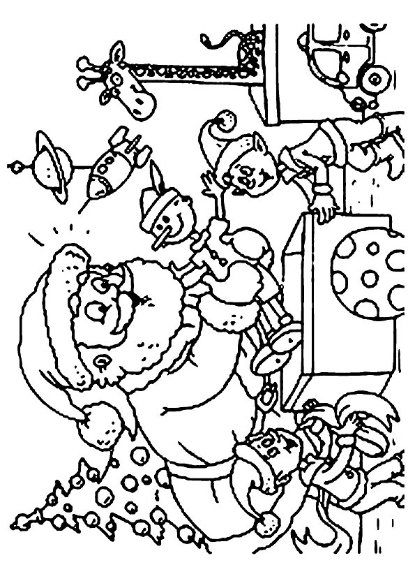 Santa & Elves coloring pages