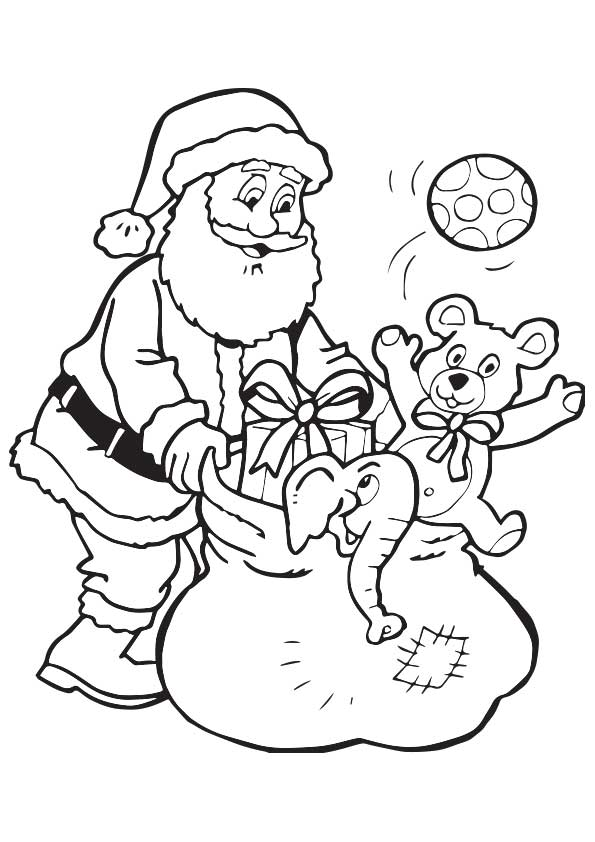Santa Collecting Toys coloring pages