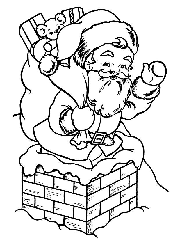 Santa Entering The House coloring pages