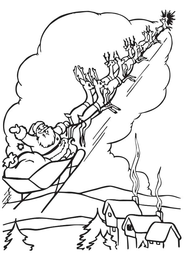 Santa On His Sleigh coloring pages