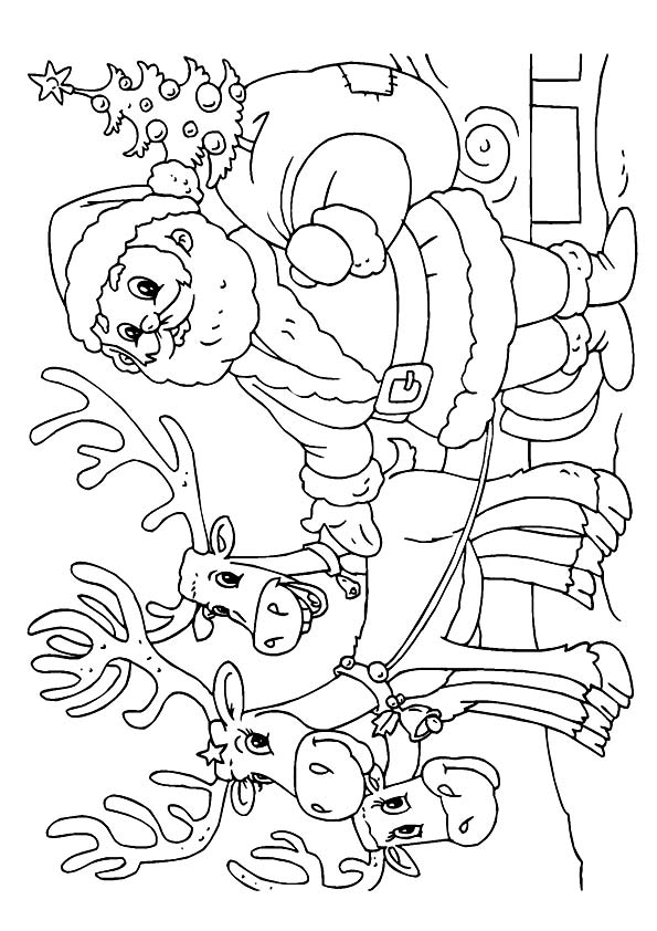 Santa with Friends coloring pages