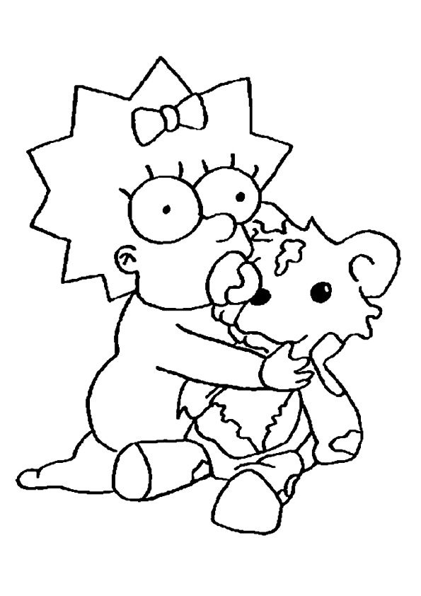 Maggie With Teddy coloring pages