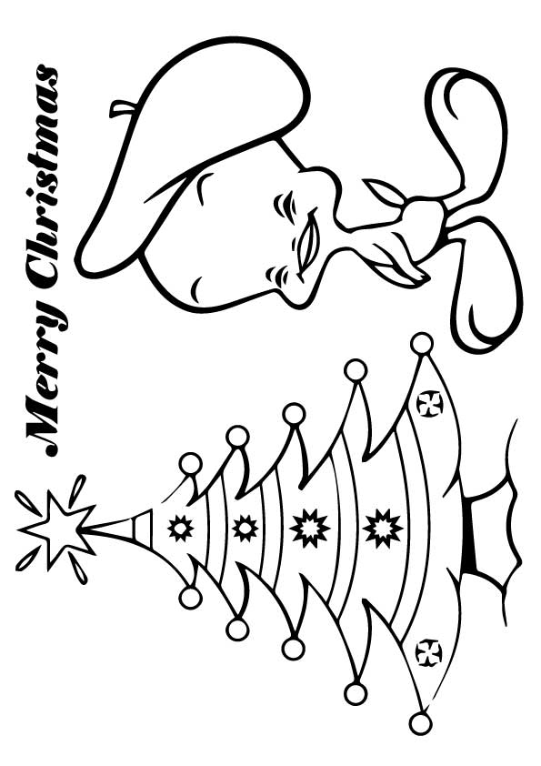 Tweety in Christmas coloring pages
