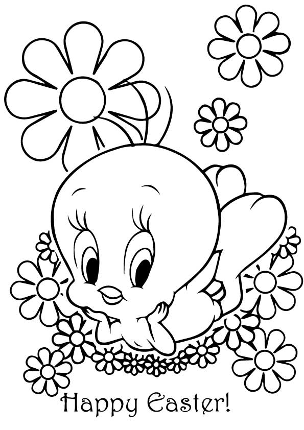 Tweety Celebrating Easter coloring pages