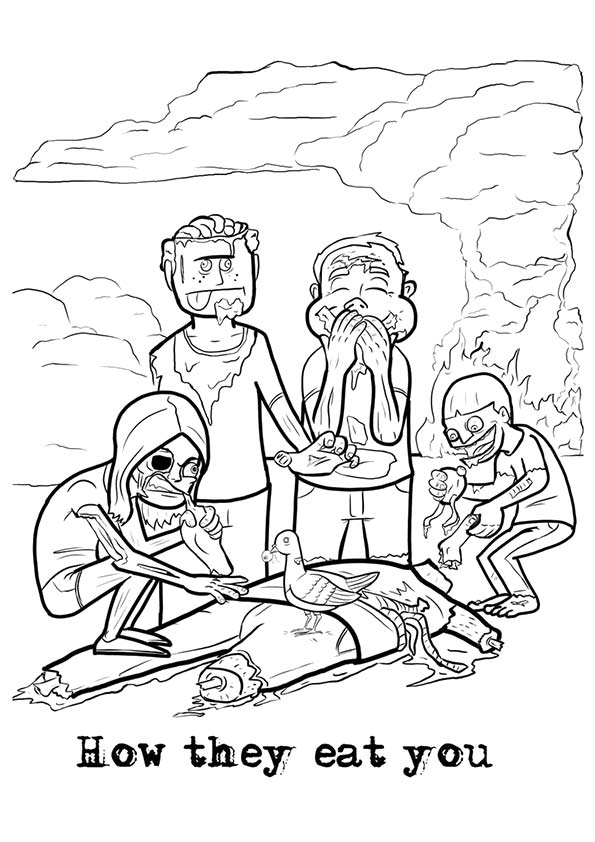 Zombie Eats Men coloring pages