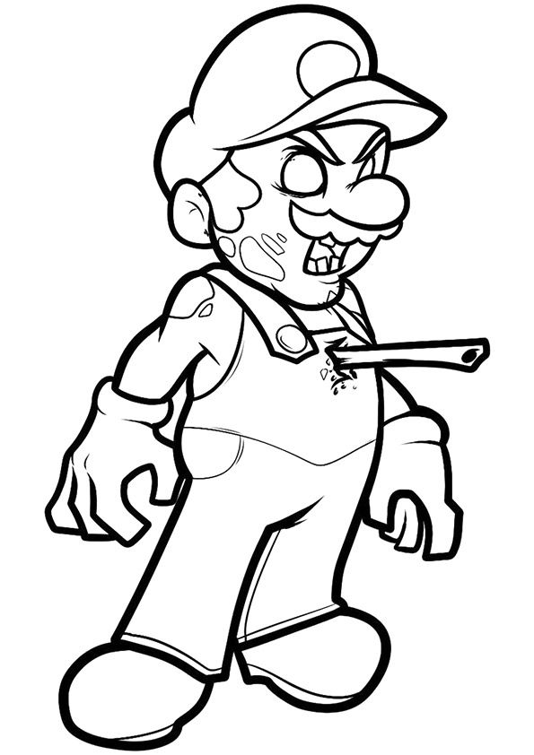 Mario As Zombie coloring pages