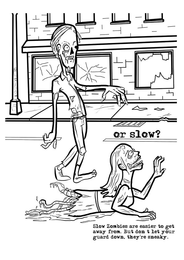 Slow Zombies coloring pages