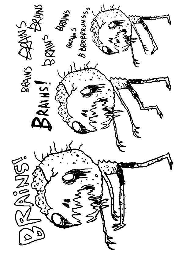 Brain Looking Zombie coloring pages