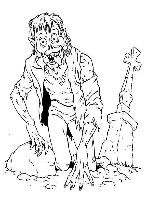 Zombie Near Grave coloring pages