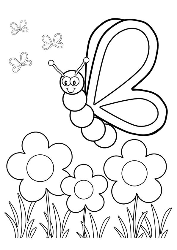 Flower & Insect coloring pages