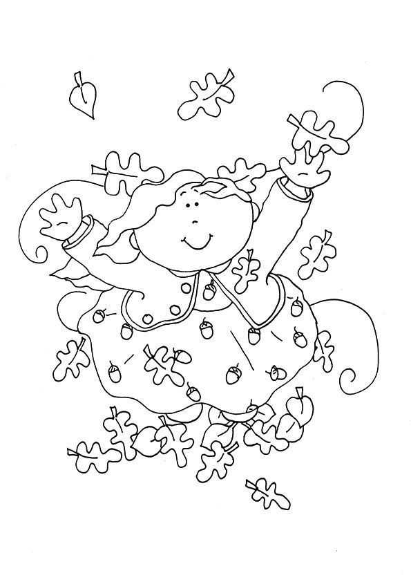 Kid Jumping in Leaves coloring pages