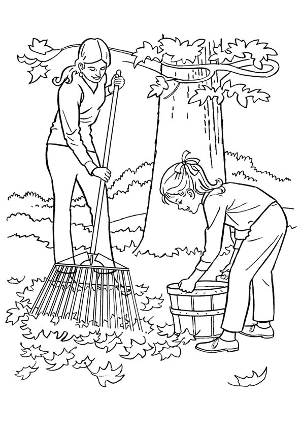 Raking Leaf coloring pages