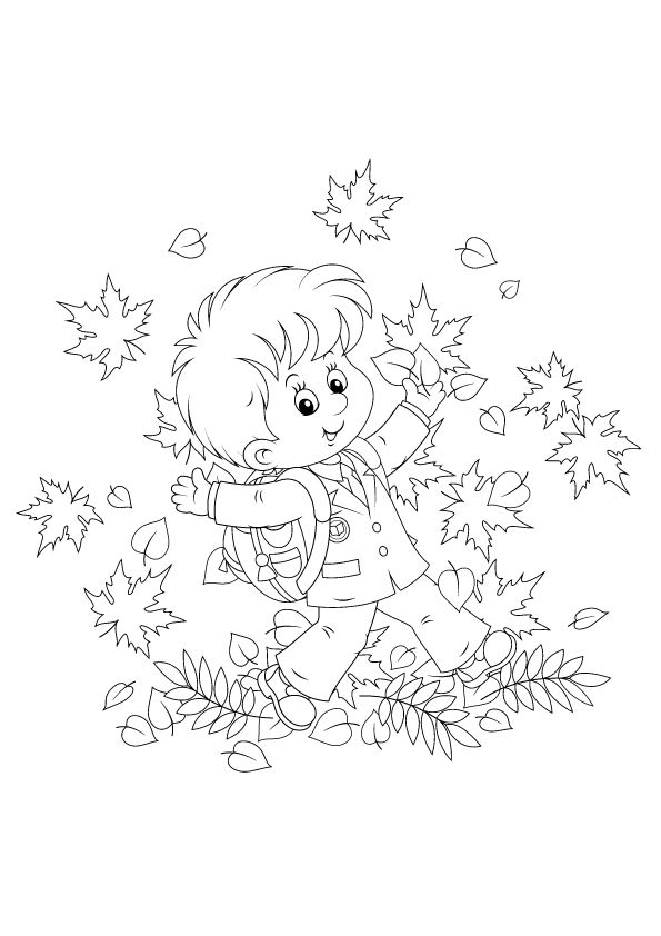 Schoolboy & Autumn Leaves coloring pages