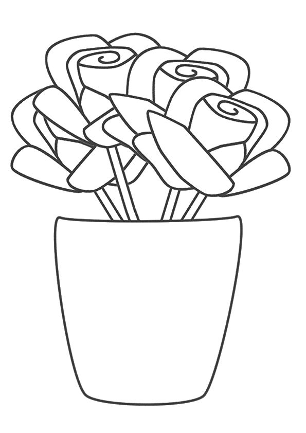 A rose vase coloring pages