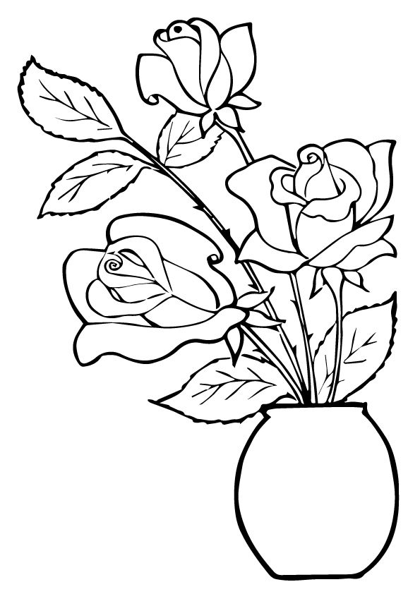 three roses in a pot coloring pages