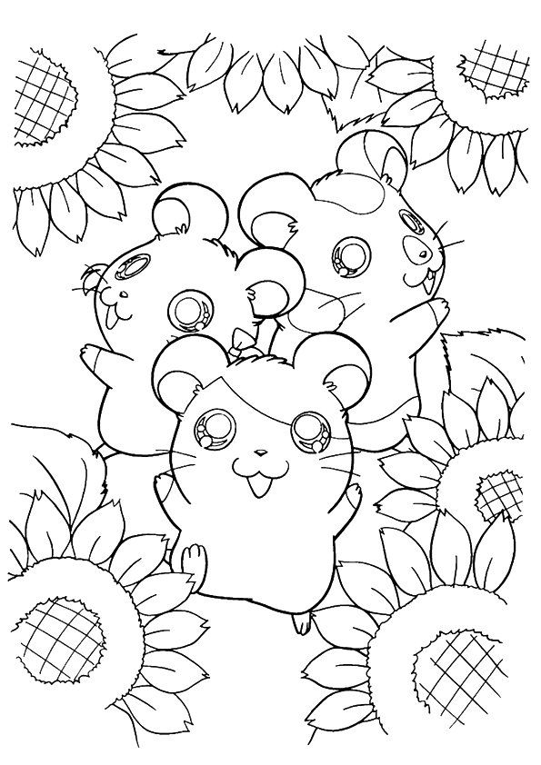 Hamtaro Surrounded By Sunflower coloring pages
