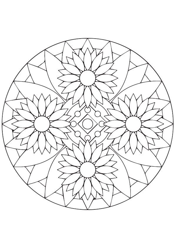 Free To Download Sunflower Mandala Coloring Picture Assignment