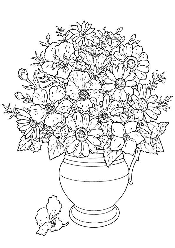 Sunflower Vase coloring pages