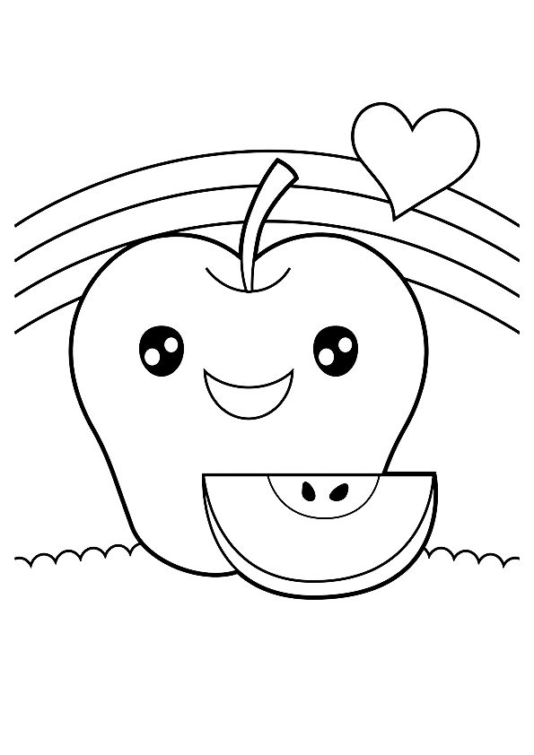 Happy Apple coloring pages