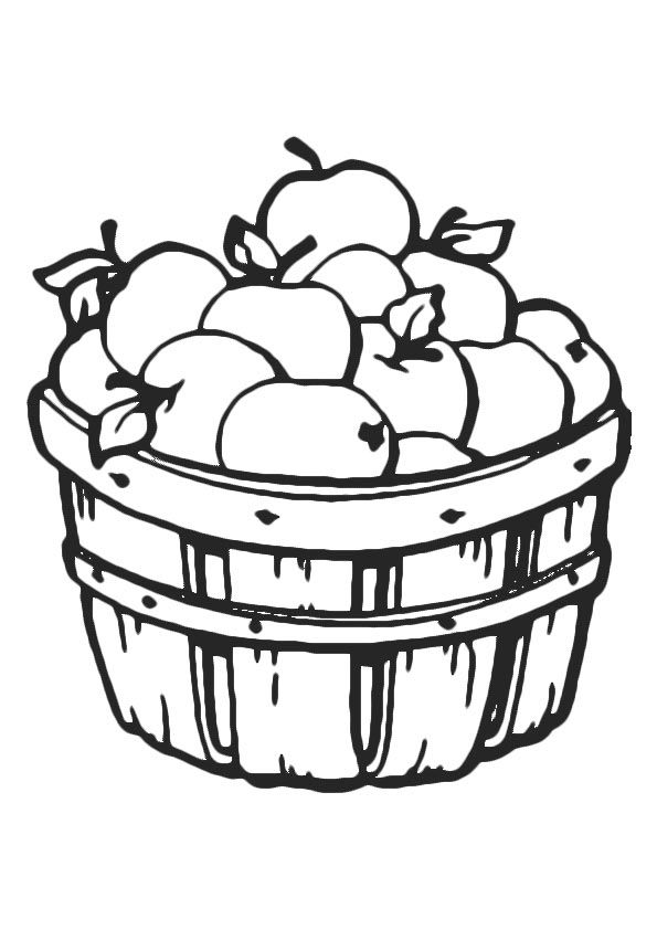 Apple in Basket coloring pages
