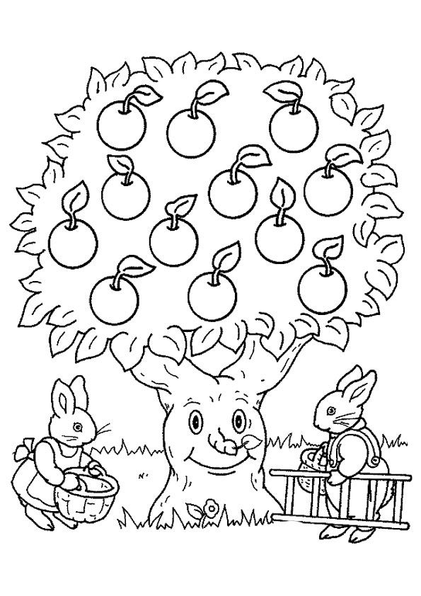 Bannies Picking Apples coloring pages