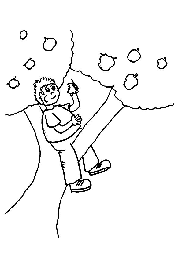 Sitting in Apple Tree coloring pages