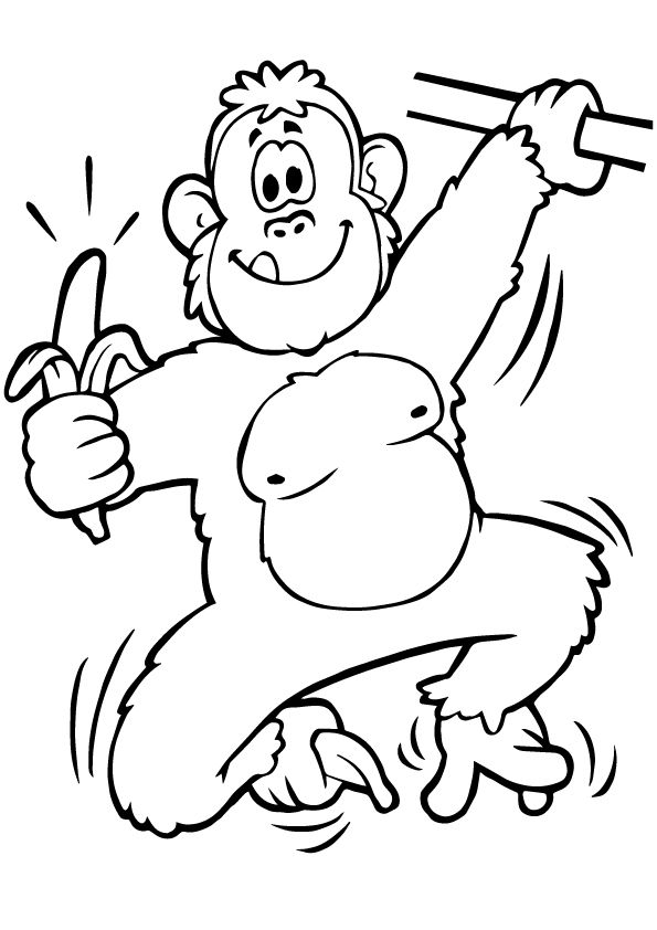 Ape Eating Banana coloring pages