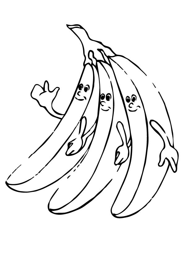 3 Banana Friends coloring pages