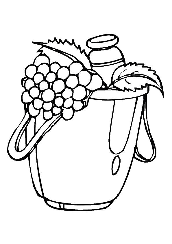 Bucketful Grapes coloring pages