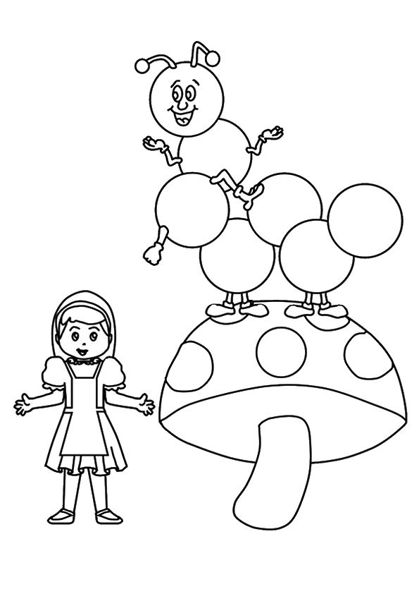 Bug & Girl Mushroom coloring pages