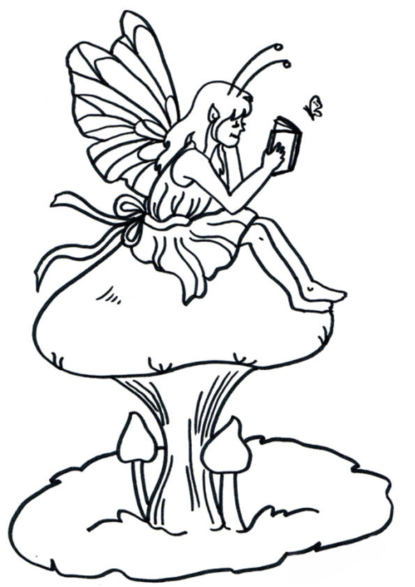 Fairy on Mushroom coloring pages