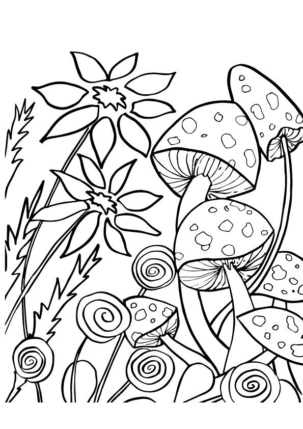 Mushroom Flowers coloring pages