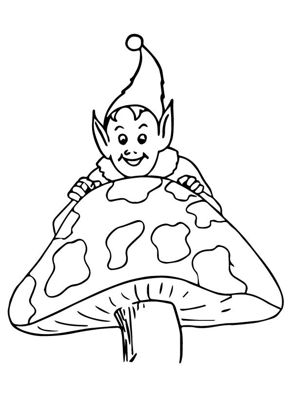 Elf on Mushroom coloring pages