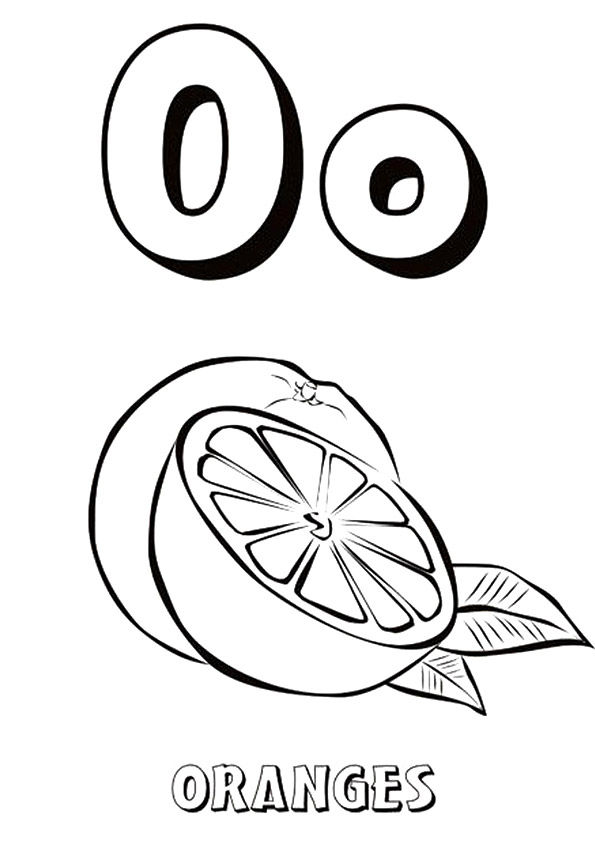 O for Orange coloring pages
