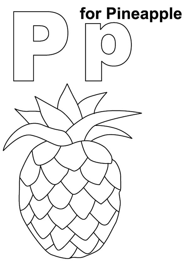 P for Pineapple coloring pages