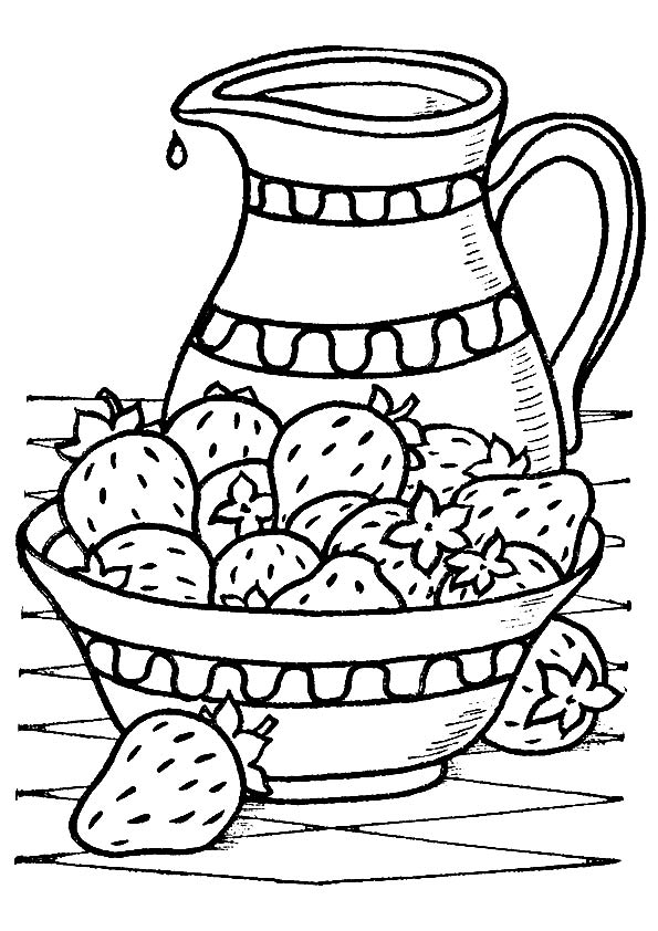 Strawberries Juice Jug coloring pages