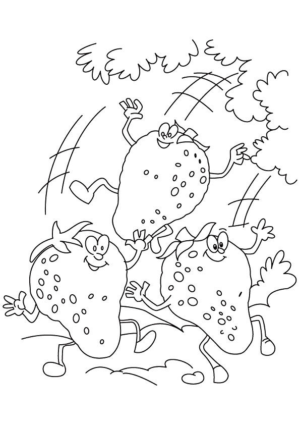 3 Jovial Strawberries coloring pages