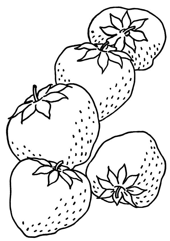 5 Strawberries coloring pages