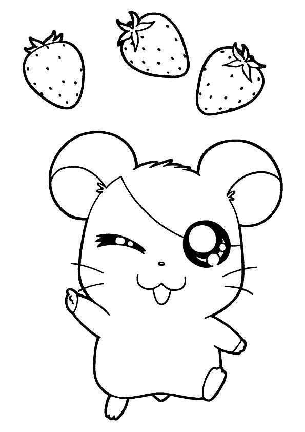 Strawberries & Hamtaro coloring pages