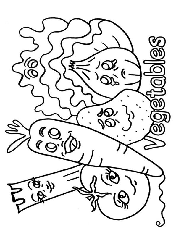Cartoon of Vegetables coloring pages