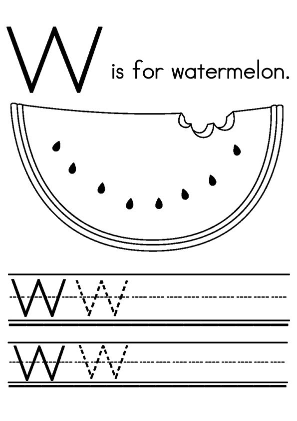 W for Watermelon 2 coloring pages