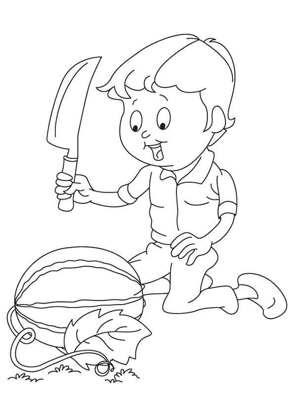 Boy Cutting Watermelon coloring pages