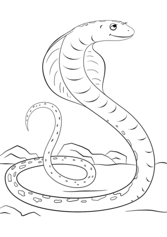 Cute Cartoon Cobra  coloring pages
